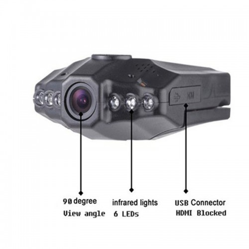 "2.5"" Car IR HD Night Vision Vehicle Video DVR 270° 6 LED Recorder Camera"