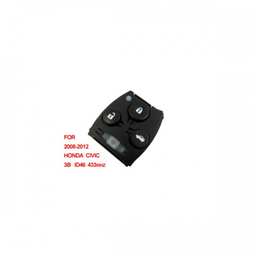 Remote 433mhz ID46 3 Button (2008-2012) for Honda Civic Livraison Gratuite
