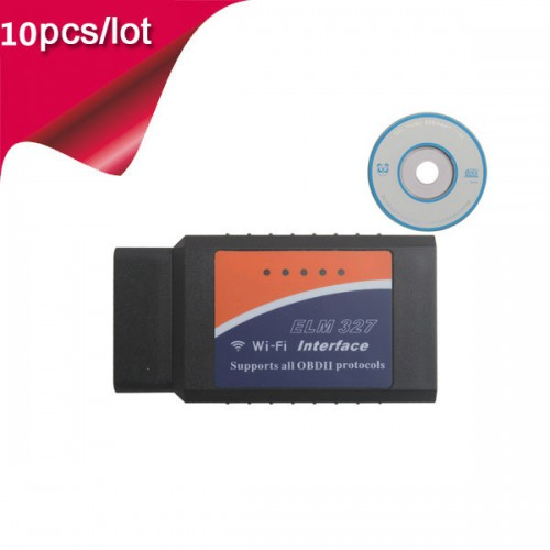 10pcs WIFI ELM327 Wireless OBD2 Auto Scanner Adapter Scan Tool for iPhone ipad iPod