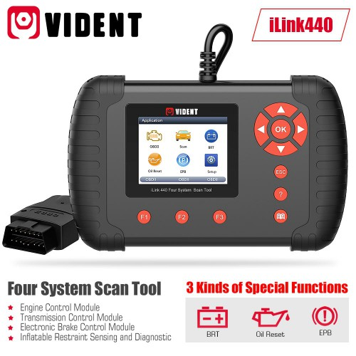 VIDENT iLink440 4 Systèmes Scan Tool Supporte Engine ABS Air Bag SRS EPB Reset Battery Configuration