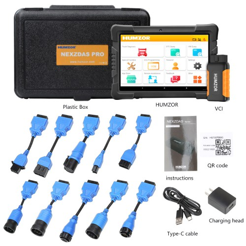 Humzor NexzDAS ND506 PLUS Véhicules Commercia Diesel Auto Full System Intelligent Diagnosis Tool Full Version avec 10.1 Inch Tablet et 10pcs Adapters