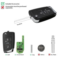 XHORSE XEMQB1EN Super Remote Key MQB Style 3 Buttons Built-in Super Chip English Version 5 pcs/lot
