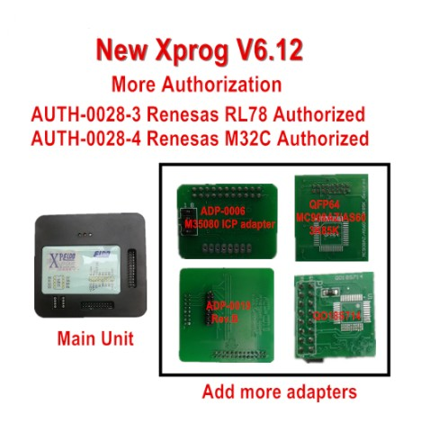 X-PROG V6.12 Newly Added 4 Adapters: